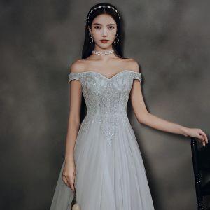 Elegantes Gris Bailando Vestidos de gala 2020 A-Line / Princess Fuera Del Hombro Manga Corta Rebordear Largos Ruffle Sin Espalda Vestidos Formales