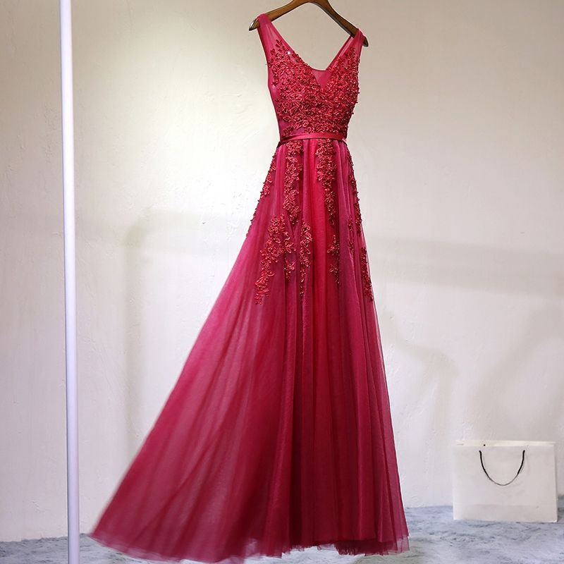 Chic / Beautiful Red Formal Dresses 2017 A-Line / Princess Lace Flower Beading Backless U-Neck Sleeveless Ankle Length Evening Dresses