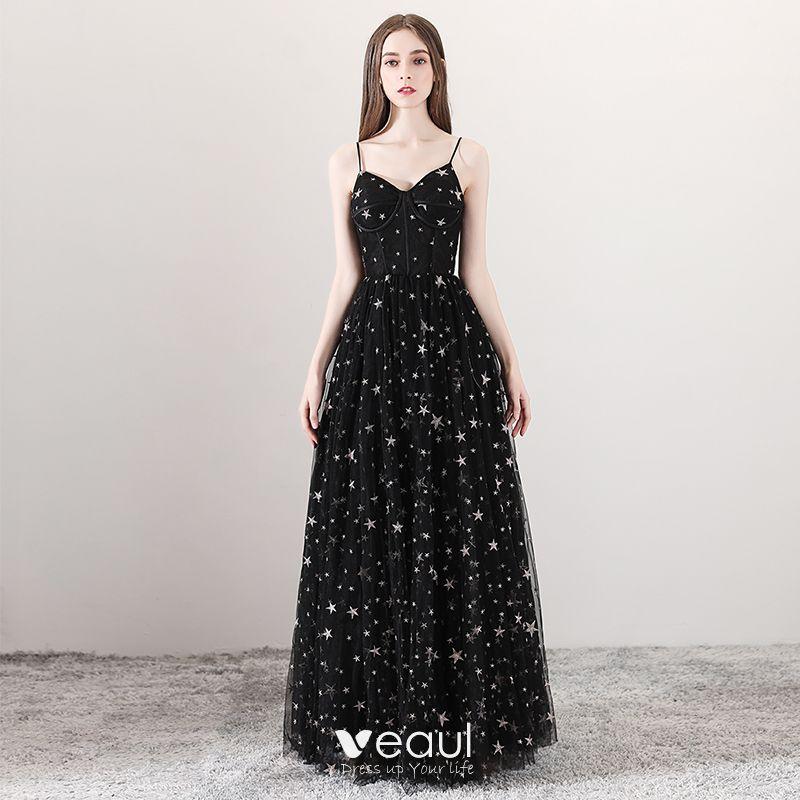 Sexy Negro Vestidos De Gala 2018 A Line Princess Spaghetti Straps Sin Mangas Estrella Bordado Largos Ruffle Sin Espalda Vestidos Formales