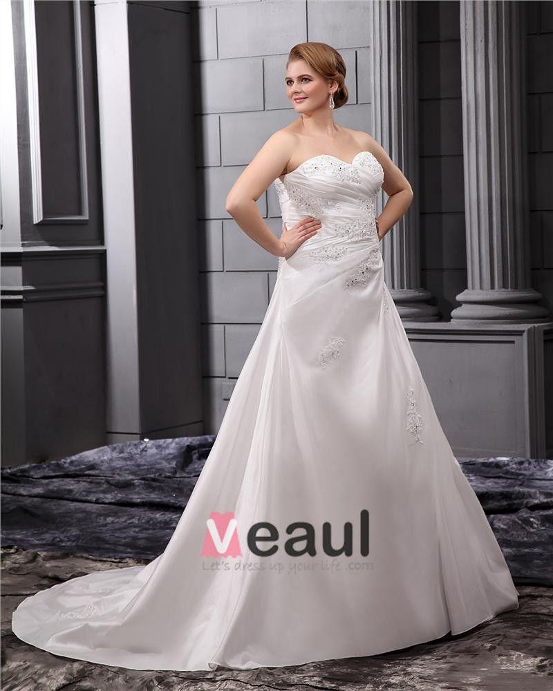 Taffeta Lace Flower Bead Sweetheart Applique Beading Princess Floor Length Wedding Dresses