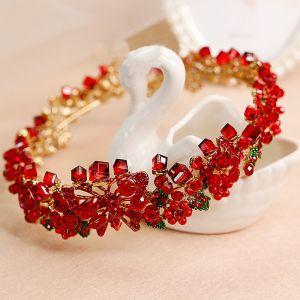 Chic / Beautiful Red Bridal Jewelry 2017 Beading Rhinestone Metal Wedding Prom Accessories