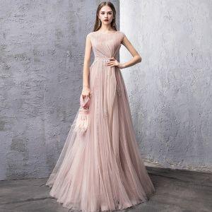 5d565f7a2b Eleganckie Różowy Perłowy Sukienki Wieczorowe 2019 Princessa Wycięciem Bez  Rękawów Aplikacje Z Koronki Frezowanie Perła Długie