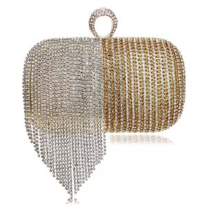 Two Tone Gold Patent Leather Square Clutch Bags 2020 Metal Rhinestone Tassel