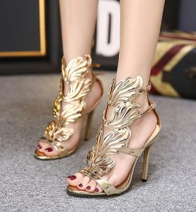 Amazing / Unique Gold Rave Club Womens Sandals With Wings 2020 11 cm Stiletto Heels Open / Peep Toe Sandals