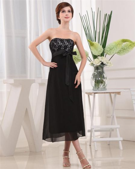 Strapless Sleeveless Zipper Belt Tea Length Chiffon Lace Satin Mother of the Bride Dress