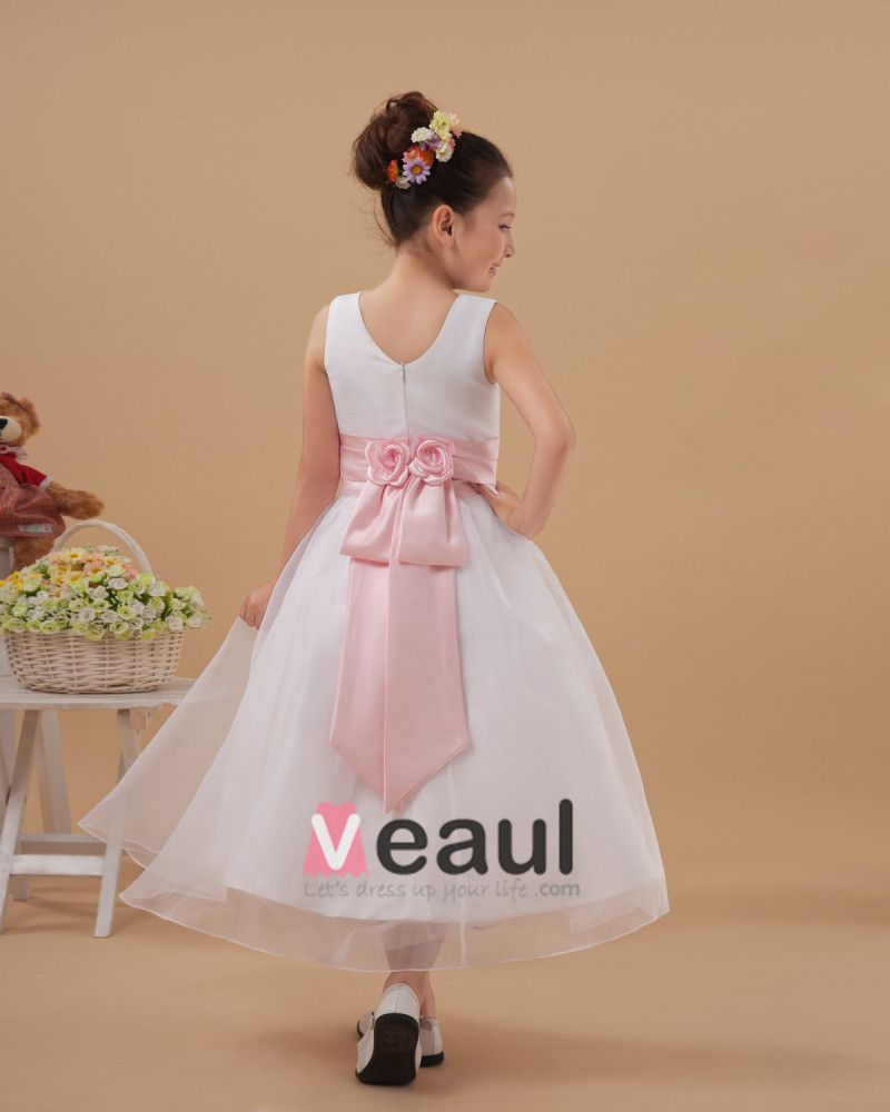 Beautiful Satin Organza Handmade Flower Girl Dresses