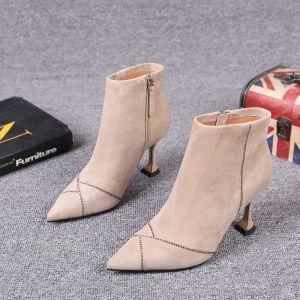 Mote Aprikos Gateklær Suede Lær Kvinners støvler 2021 Ankel 8 cm Stiletthæler Spisse Boots