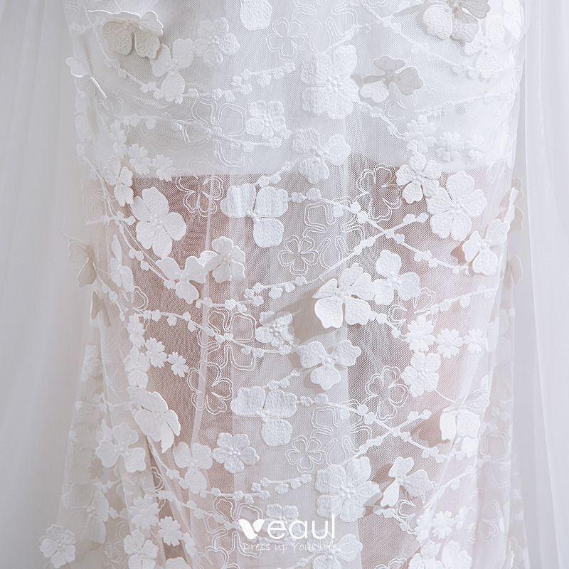 White Backless Lace Mermaid Wedding Dresses 2018 V Neck: Luxury / Gorgeous White Chapel Train Wedding 2018 Lace-up