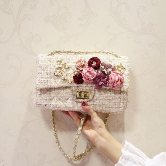 Mode Beige Clutch Tasche Perlenstickerei Blumen Perle Stoff Festzug Abend Brautaccessoires 2019