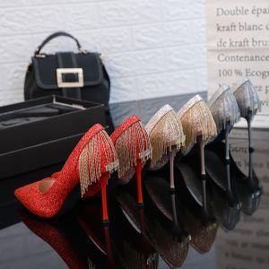 Encantador Rojo Zapatos de novia 2019 Lentejuelas Tassel 10 cm Stilettos / Tacones De Aguja Punta Estrecha Boda Tacones