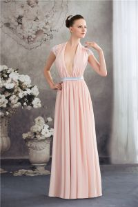 A-line Deep V-neck Halter Pink Chiffon Evening Dresses