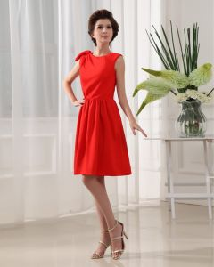 Designer Round Neck Petal Sleeve Knee Length Silk Woman Bridesmaid Dress