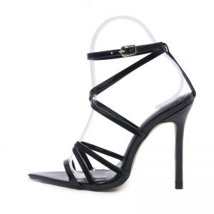 Sexy Black Casual Womens Sandals 2020 Ankle Strap 9 cm Stiletto Heels Open / Peep Toe Sandals