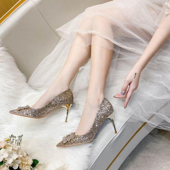 Brillante Champán Noche Perla Rhinestone Tacones 2021 Cuero Lentejuelas 8 cm Stilettos / Tacones De Aguja Punta Estrecha Tacones High Heels