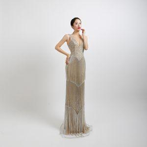 High End Silber Abendkleider 2020 Meerjungfrau Durchsichtige V-Ausschnitt Ärmellos Perlenstickerei Quaste Pailletten Lange Rückenfreies Festliche Kleider
