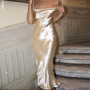 Elegant Holiday Gold Satin Summer Maxi Dresses 2020 Spaghetti Straps Sleeveless Backless Tea-length