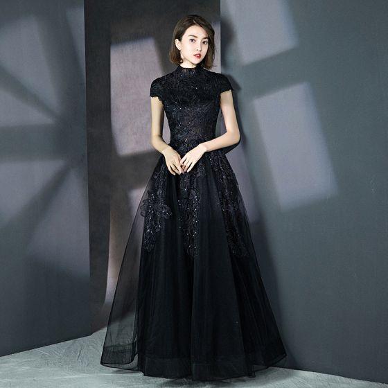 df281a1135 Vintage Negro Vestidos de gala 2018 A-Line   Princess Cuello Alto Mangas de  la tapa Glitter ...