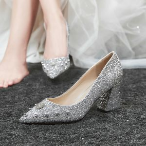 Sparkly Silver Wedding Shoes 2020 Rhinestone Rivet Sequins 7 cm Thick Heels Pointed Toe Wedding Pumps