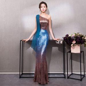 Bling Bling Ink Blue Sequins Evening Dresses  2019 Trumpet / Mermaid One-Shoulder Sleeveless Floor-Length / Long Ruffle Formal Dresses