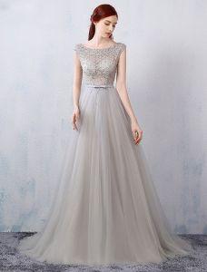 Efektowne Suknie Wieczorowe 2016 A-linia Linkę Przebite Wzór Koronki Tiul Szara Sukienka Backless