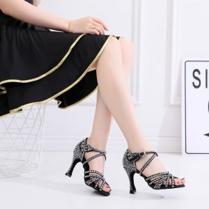 Modern / Fashion Black Latin Dance Shoes 2020 Leatherette X-Strap Beading Rhinestone Dancing Prom Womens Shoes