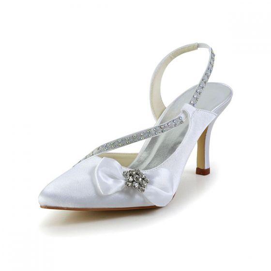 Mooie Witte Bruidsschoenen Satijnen Stiletto Sandalen Slingbacks Met Strass Strik