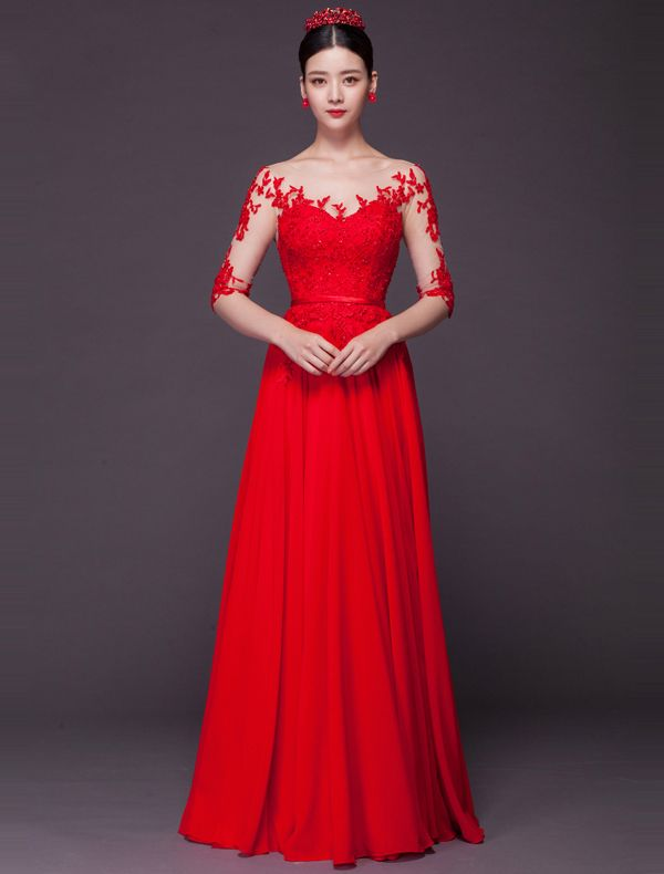 Sexy Evening Dresses 2016 Scoop Neckline Sequins Applique Lace Backless Red Chiffon Long Formal Dress