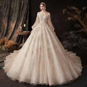 Victorian Style Champagne Bridal Wedding Dresses 2020 Ball Gown Off-The-Shoulder Puffy Long Sleeve Backless Appliques Sequins Beading Glitter Tulle Cathedral Train Ruffle