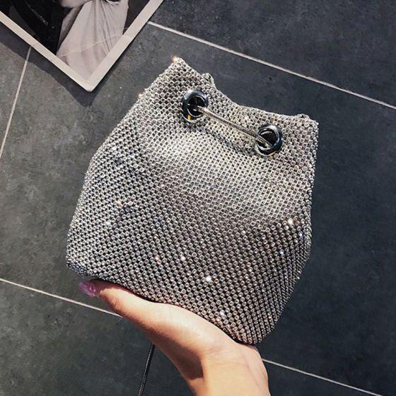 Chic / Beautiful Silver Glitter Rhinestone Clutch Bags 2018