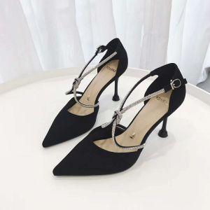 Moda Czarne Zużycie ulicy Sandały Damskie 2020 Rhinestone X-Bar 8 cm Szpilki Szpiczaste Sandały