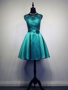 Einfache Brautjungfernkleider Jade Satin Kleid Für Hochzeit Mit Blumenschärpe