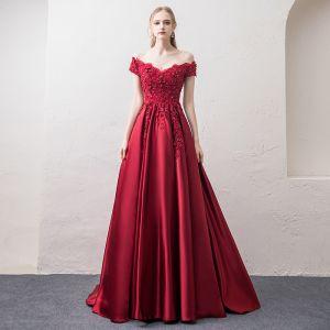 Modern / Fashion Burgundy Evening Dresses  2018 A-Line / Princess V-Neck Short Sleeve Appliques Lace Beading Rhinestone Sweep Train Ruffle Backless Formal Dresses