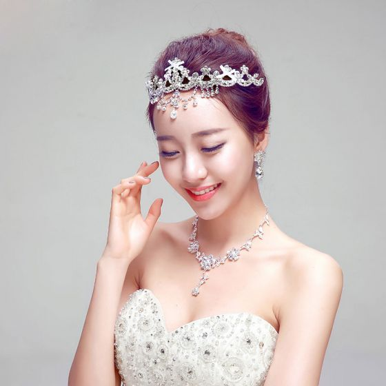 Red / Silver Bridal Jewellery Necklace / Earrings / Crown Three-piece