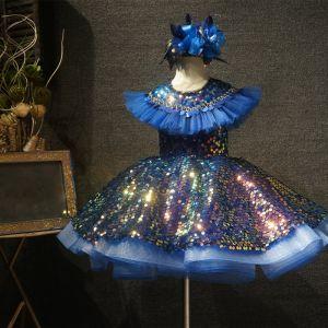 Märchen Königliches Blau Geburtstag Blumenmädchenkleider 2020 Ballkleid Rundhalsausschnitt Ärmellos Pailletten Kurze Rüschen Kleider Für Hochzeit