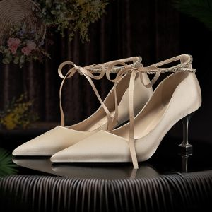 Elegante Champagne Bruidsschoenen 2020 Satijn Rhinestone Strik 7 cm Naaldhakken / Stiletto Spitse Neus Huwelijk Pumps