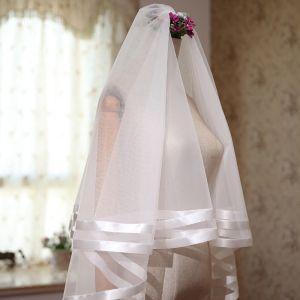 Eenvoudige Witte Huwelijk Korte Gestreept Tule 1.5 m Bruidssluier 2018