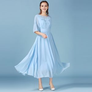 Sky Blue Summer Maxi Dresses Chiffon 2018 A-Line / Princess Scoop Neck 1/2 Sleeves Tea-length Ruffle Women's Clothing