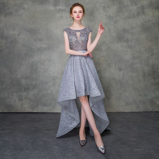 Illusion Grey Cocktail Dresses 2018 A-Line / Princess Scoop Neck Sleeveless Sash Beading Asymmetrical Ruffle Formal Dresses