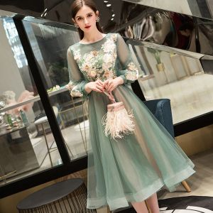 Chic / Beautiful Sage Green Evening Dresses  2019 A-Line / Princess Scoop Neck Lace Flower Appliques Long Sleeve Backless Tea-length Formal Dresses