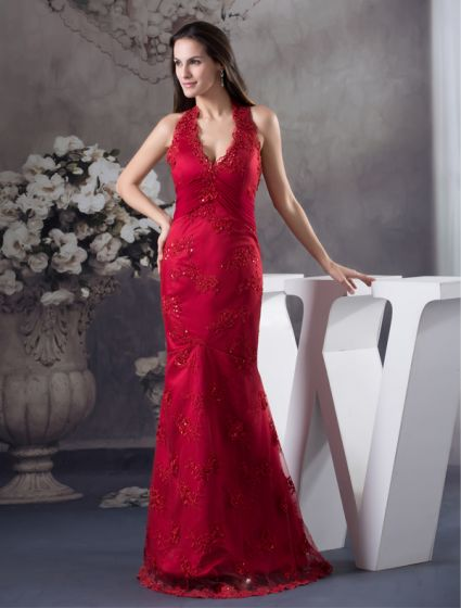 2015 Unique Mermaid Halter V-neck Appliques Prom Dress Red Evening Dress