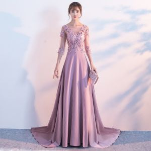 Elegant Candy Pink Evening Dresses  2017 A-Line / Princess Scoop Neck 3/4 Sleeve Appliques Flower Pearl Sequins Chapel Train Ruffle Pierced Backless Formal Dresses