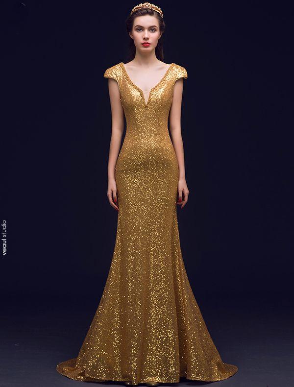 Prickelnde Meerjungfrau Tiefem V-ausschnitt Rückenfreie Gold Pailletten Lange Abendkleider