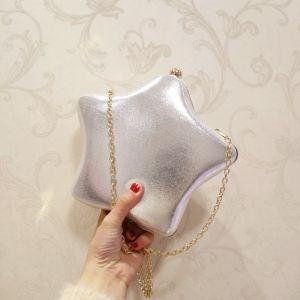 Amazing / Unique Silver Patent Leather Star Clutch Bags 2018