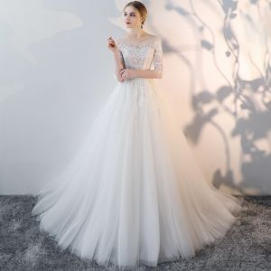 Charming Ivory Summer See-through Wedding Dresses 2018 A-Line / Princess Scoop Neck 3/4 Sleeve Backless Appliques Lace Pierced Ruffle Chapel Train