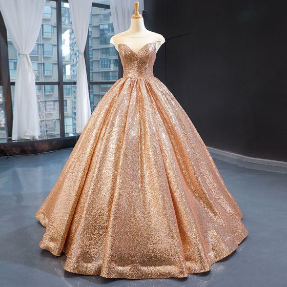 Błyszczące Szampan Cekiny Taniec Sukienki Na Bal 2020 Suknia Balowa Przezroczyste Wycięciem Bez Rękawów Długie Wzburzyć Bez Pleców Sukienki Wizytowe
