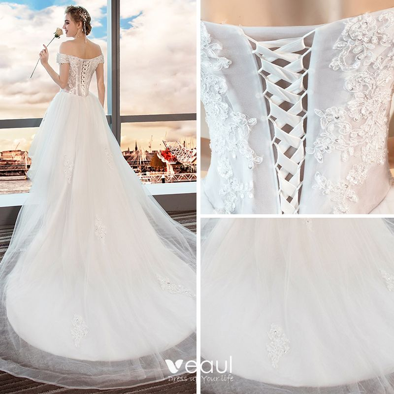 High Low Summer White Beach Wedding Dresses 2018 A-Line / Princess Off-The-Shoulder Short Sleeve Backless Appliques Lace Sequins Beading Ruffle Asymmetrical
