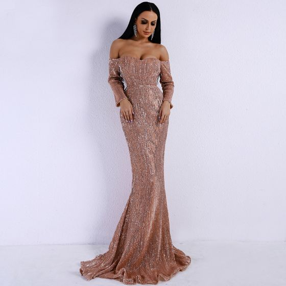 Sparkly Rose Gold Sequins Evening Dresses  2020 Trumpet / Mermaid Off-The-Shoulder 3/4 Sleeve Sweep Train Ruffle Backless Formal Dresses