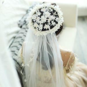 Blomsterfe Hvit Øredobber Hodepynt 2019 Tyll Beading Blomst Perle Bryllup Ball Tilbehør
