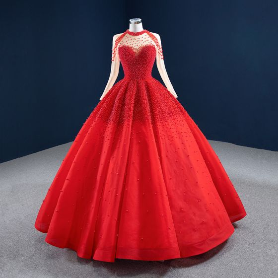 Luxury / Gorgeous Red See-through Bridal Wedding Dresses 2020 Ball Gown High Neck Long Sleeve Handmade  Beading Pearl Floor-Length / Long