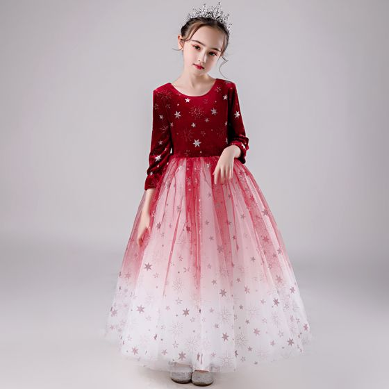 Elegant Rød Gradient-Farge Suede Vinter Blomsterpikekjoler 2020 Ballkjole Scoop Halsen 3/4 Ermer Glitter Stjerne Lange Buste